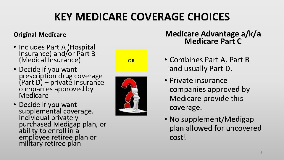 KEY MEDICARE COVERAGE CHOICES Medicare Advantage a/k/a Medicare Part C Original Medicare • Includes