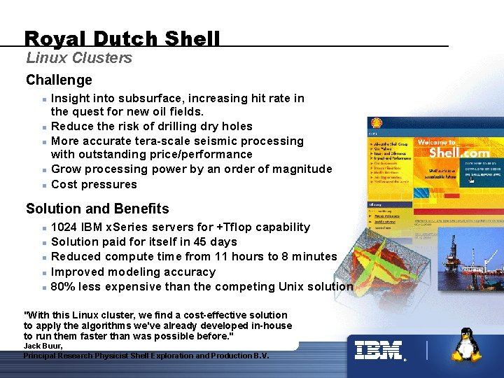 Royal Dutch Shell Linux Clusters Challenge n n n Insight into subsurface, increasing hit