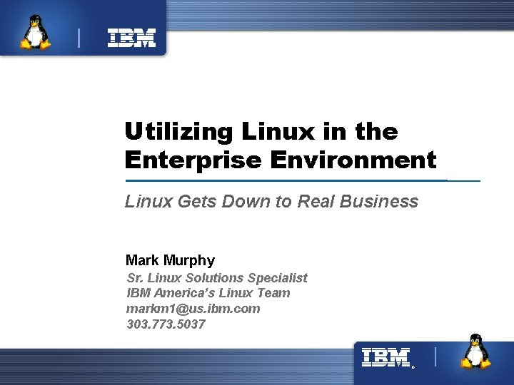 ® Utilizing Linux in the Enterprise Environment Linux Gets Down to Real Business Mark