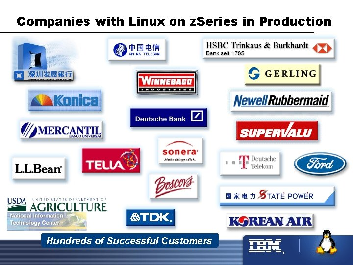 Companies with Linux on z. Series in Production Hundreds of Successful Customers ®