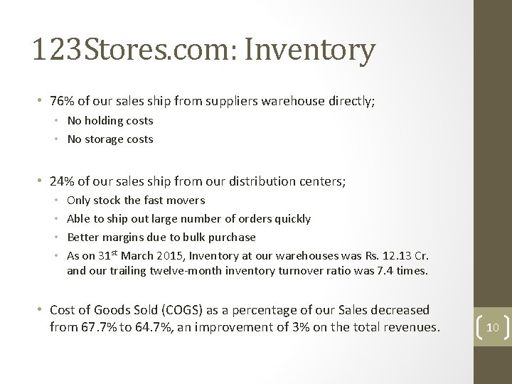 123 Stores. com: Inventory • 76% of our sales ship from suppliers warehouse directly;