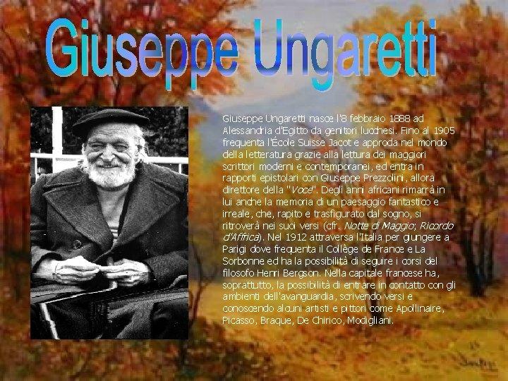 Giuseppe Ungaretti nasce l'8 febbraio 1888 ad Alessandria d'Egitto da genitori lucchesi. Fino al