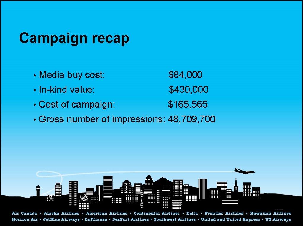 Campaign recap • Media buy cost: $84, 000 • In-kind value: $430, 000 •