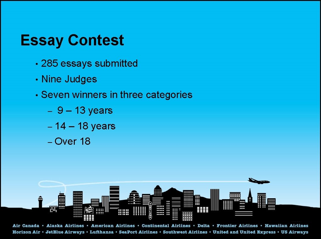 Essay Contest • 285 essays submitted • Nine Judges • Seven winners in three