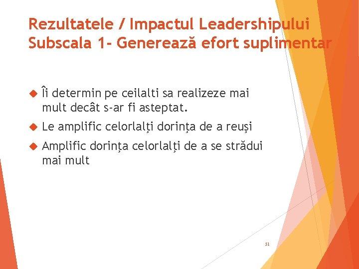 Rezultatele / Impactul Leadershipului Subscala 1 - Generează efort suplimentar Îi determin pe ceilalti