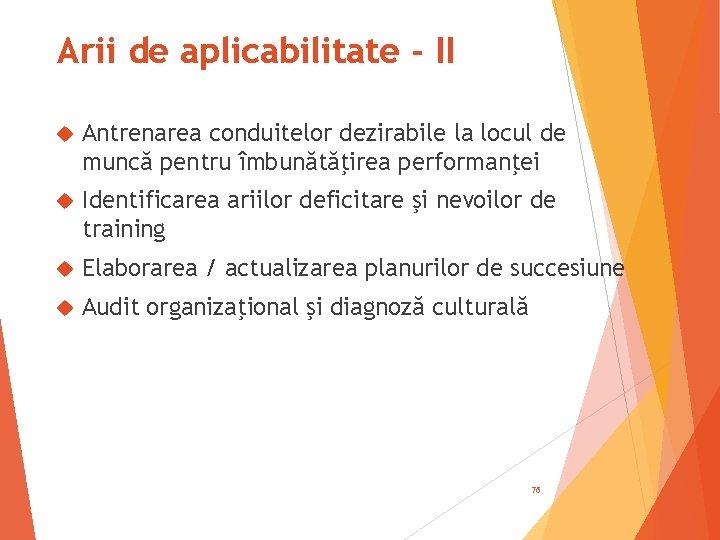 Arii de aplicabilitate - II Antrenarea conduitelor dezirabile la locul de muncă pentru îmbunătăţirea