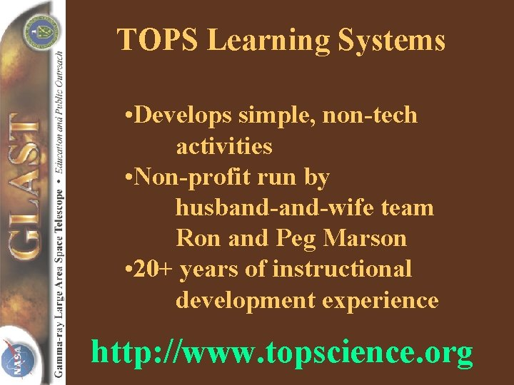 TOPS Learning Systems • Develops simple, non-tech activities • Non-profit run by husband-wife team