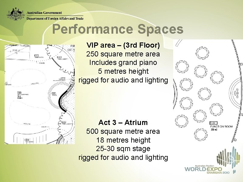 Performance Spaces VIP area – (3 rd Floor) 250 square metre area Includes grand