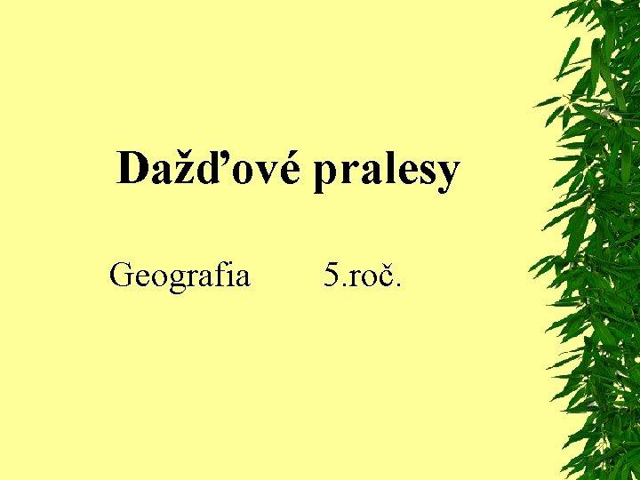 Dažďové pralesy Geografia 5. roč.