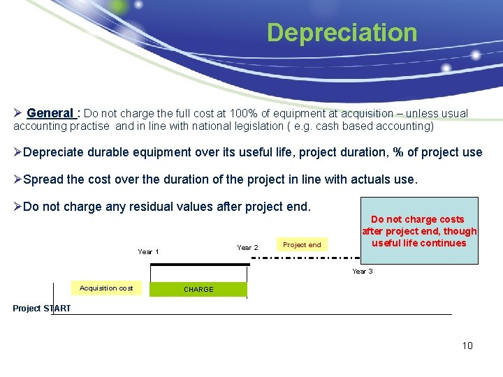 Depreciation Ø General : Do not charge the full cost at 100% of