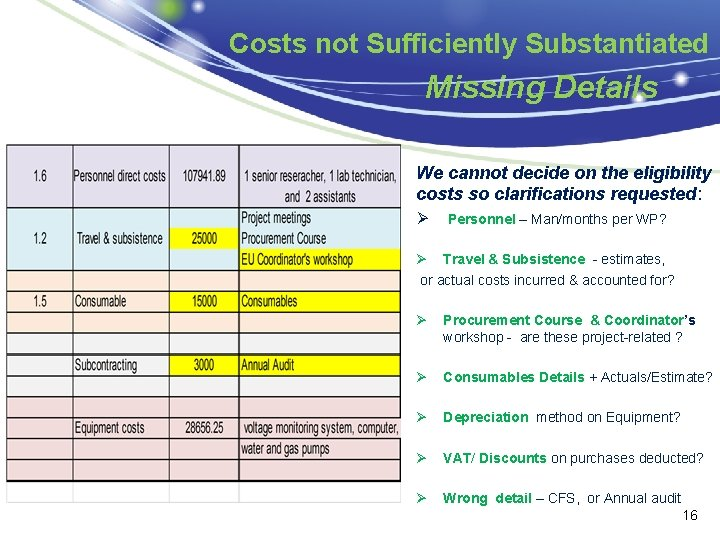 Costs not Sufficiently Substantiated Missing Details roject We cannot decide on the eligibility costs