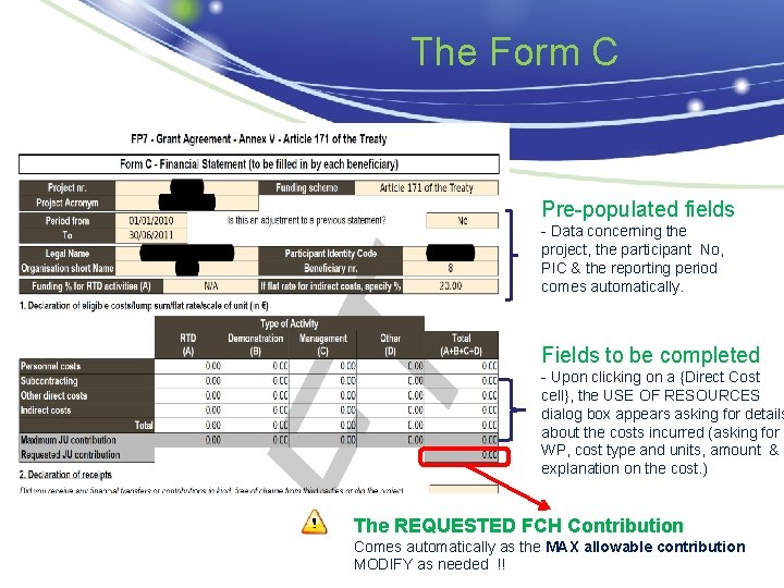 The Form C Pre-populated fields - Data concerning the project, the participant No, PIC