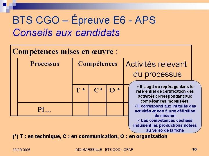 BTS CGO – Épreuve E 6 - APS Conseils aux candidats Compétences mises en