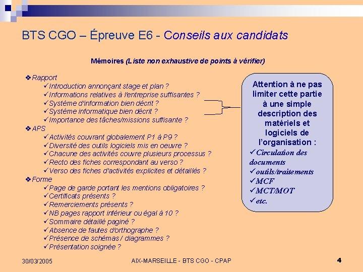 BTS CGO – Épreuve E 6 - Conseils aux candidats Mémoires (Liste non exhaustive