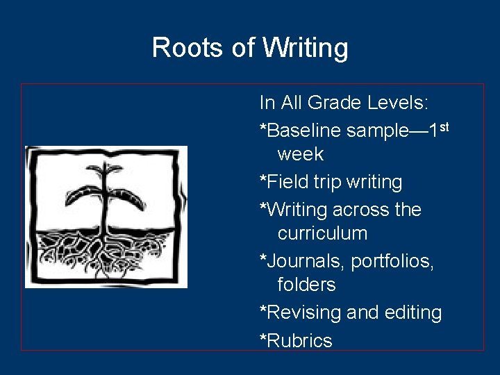 Roots of Writing In All Grade Levels: *Baseline sample— 1 st week *Field trip