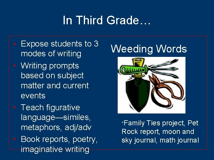 In Third Grade… • Expose students to 3 modes of writing • Writing prompts