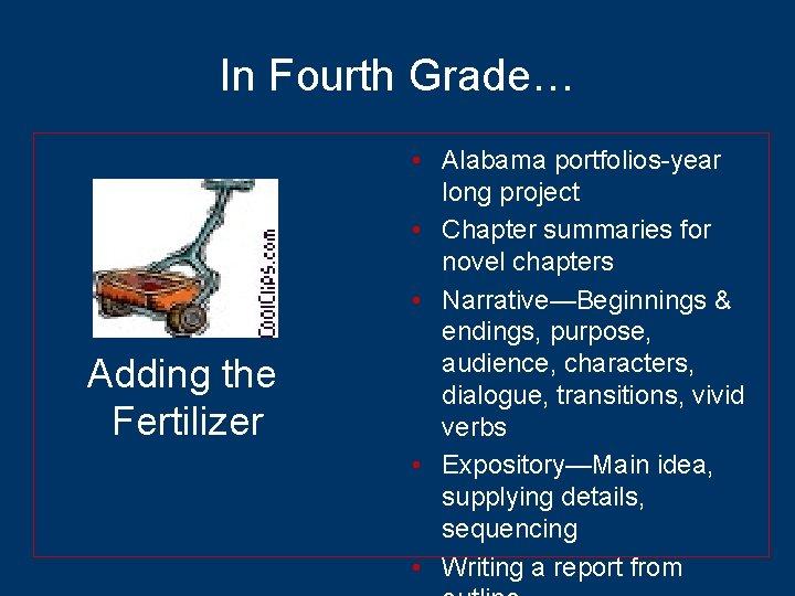 In Fourth Grade… Adding the Fertilizer • Alabama portfolios-year long project • Chapter summaries