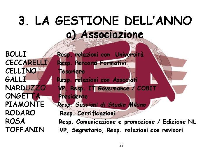 3. LA GESTIONE DELL'ANNO a) Associazione BOLLI CECCARELLI CELLINO GALLI NARDUZZO ONGETTA PIAMONTE RODARO