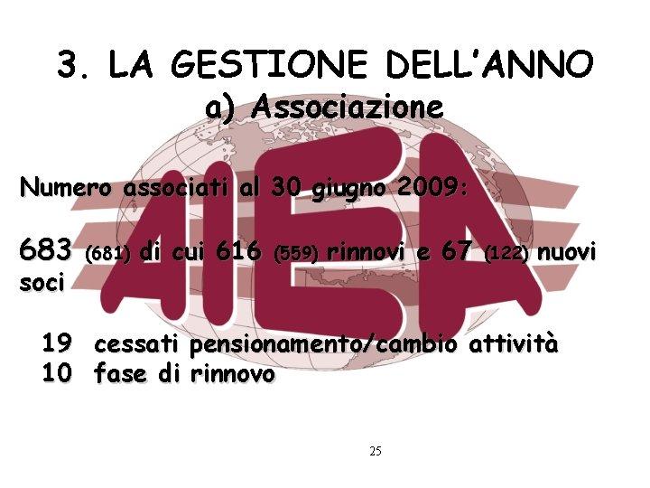 3. LA GESTIONE DELL'ANNO a) Associazione Numero associati al 30 giugno 2009: 683 soci