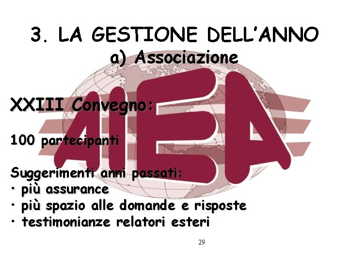3. LA GESTIONE DELL'ANNO a) Associazione XXIII Convegno: 100 partecipanti Suggerimenti anni passati: •