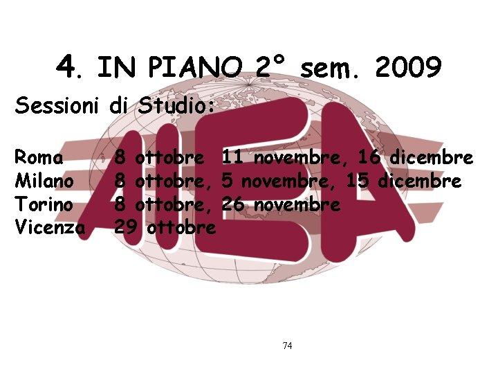4. IN PIANO 2° sem. 2009 Sessioni di Studio: Roma Milano Torino Vicenza 8