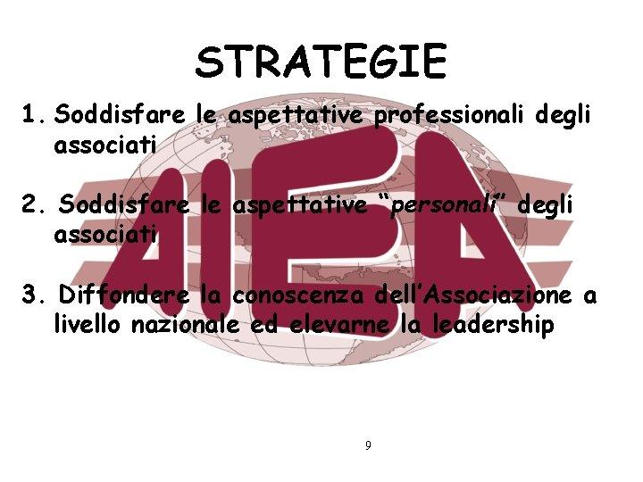 """STRATEGIE 1. Soddisfare le aspettative professionali degli associati 2. Soddisfare le aspettative """"personali"""" degli"""