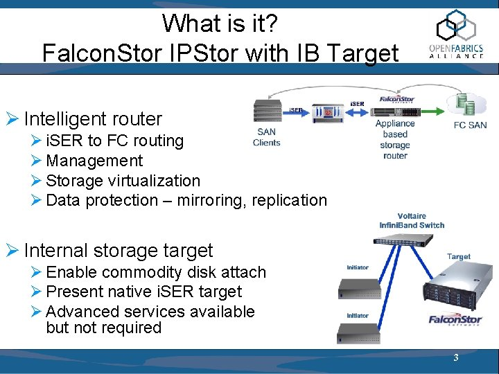 What is it? Falcon. Stor IPStor with IB Target Ø Intelligent router Ø i.