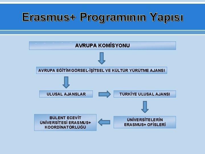 Erasmus+ Programının Yapısı AVRUPA KOMİSYONU AVRUPA EĞİTİM GÖRSEL-İŞİTSEL VE KÜLTÜR YÜRÜTME AJANSI ULUSAL AJANSLAR