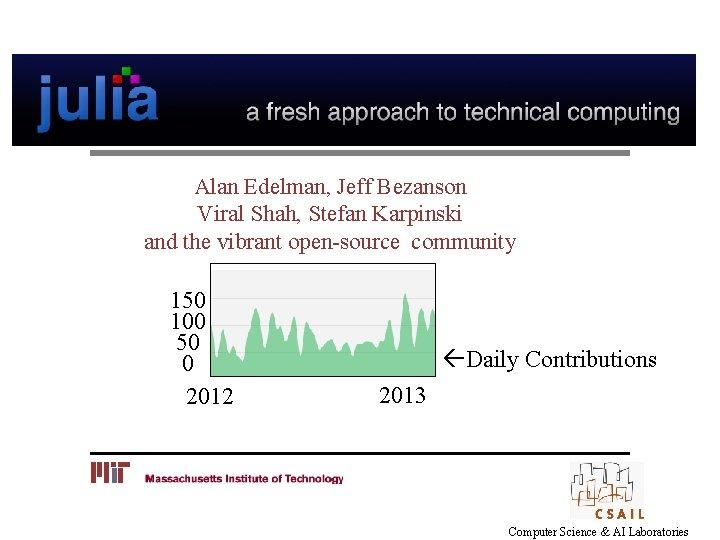 Alan Edelman, Jeff Bezanson Viral Shah, Stefan Karpinski and the vibrant open-source community 150