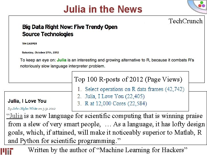 """Julia in the News Tech. Crunch Top 100 R-posts of 2012 (Page Views) """"Julia"""