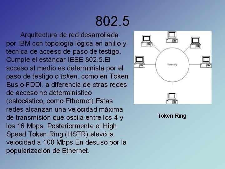 802. 5 Arquitectura de red desarrollada por IBM con topología lógica en anillo y