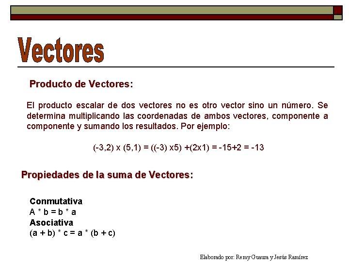 Producto de Vectores: El producto escalar de dos vectores no es otro vector sino