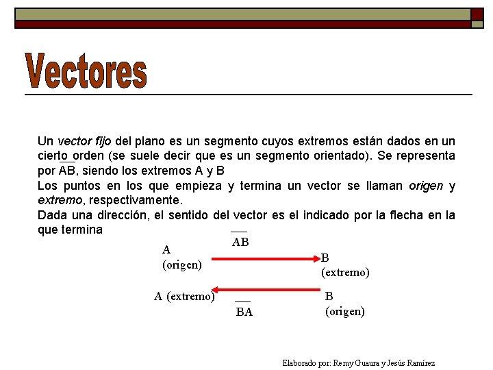 Un vector fijo del plano es un segmento cuyos extremos están dados en un