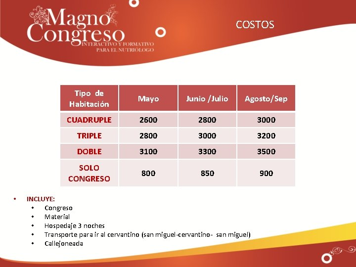COSTOS • Tipo de Habitación Mayo Junio /Julio Agosto/Sep CUADRUPLE 2600 2800 3000 TRIPLE