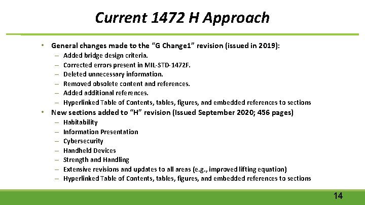 """Current 1472 H Approach • General changes made to the """"G Change 1"""" revision"""