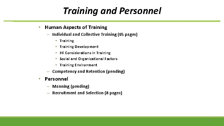 Training and Personnel • Human Aspects of Training – Individual and Collective Training (65