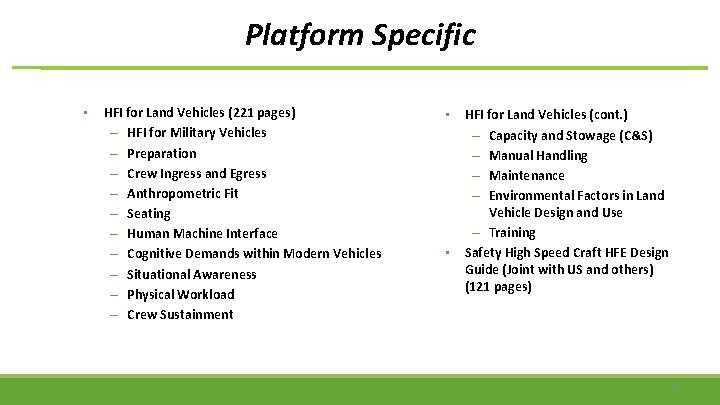 Platform Specific • HFI for Land Vehicles (221 pages) – HFI for Military Vehicles