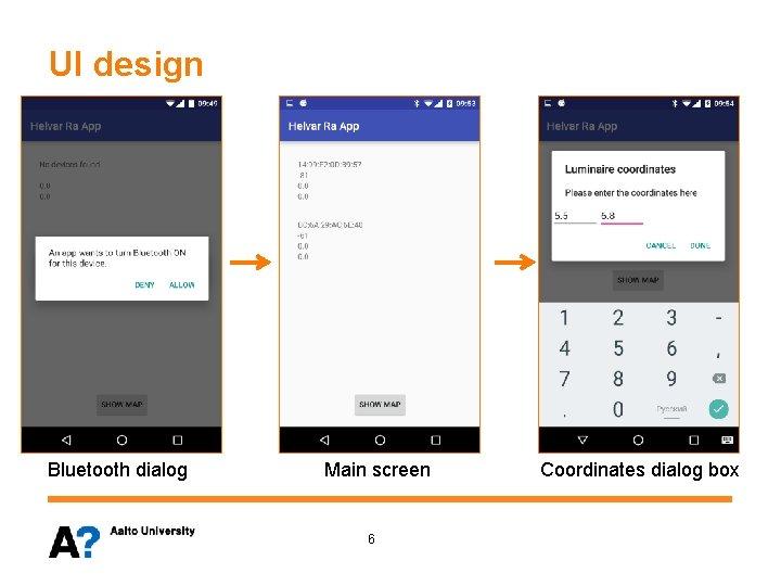 UI design Bluetooth dialog Main screen 6 Coordinates dialog box
