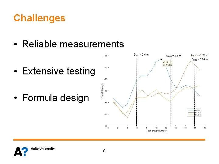 Challenges • Reliable measurements • Extensive testing • Formula design 8