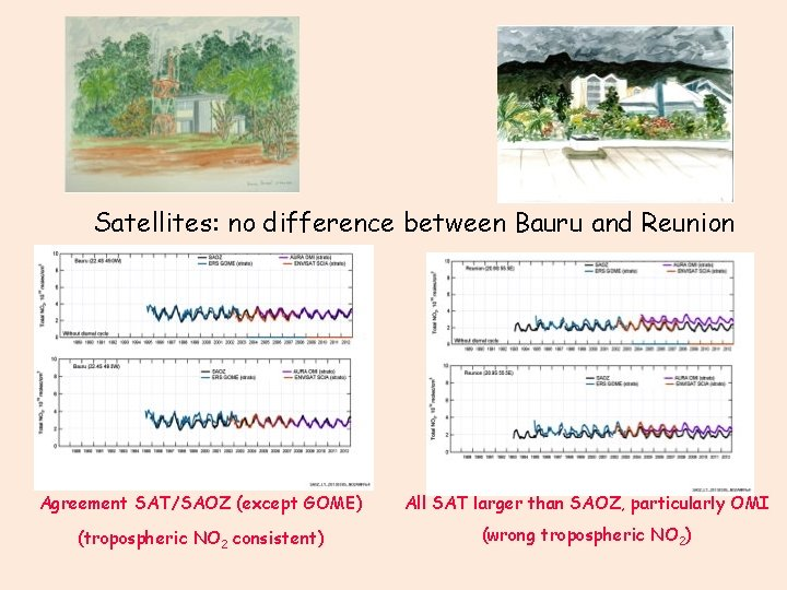 Satellites: no difference between Bauru and Reunion Agreement SAT/SAOZ (except GOME) All SAT larger