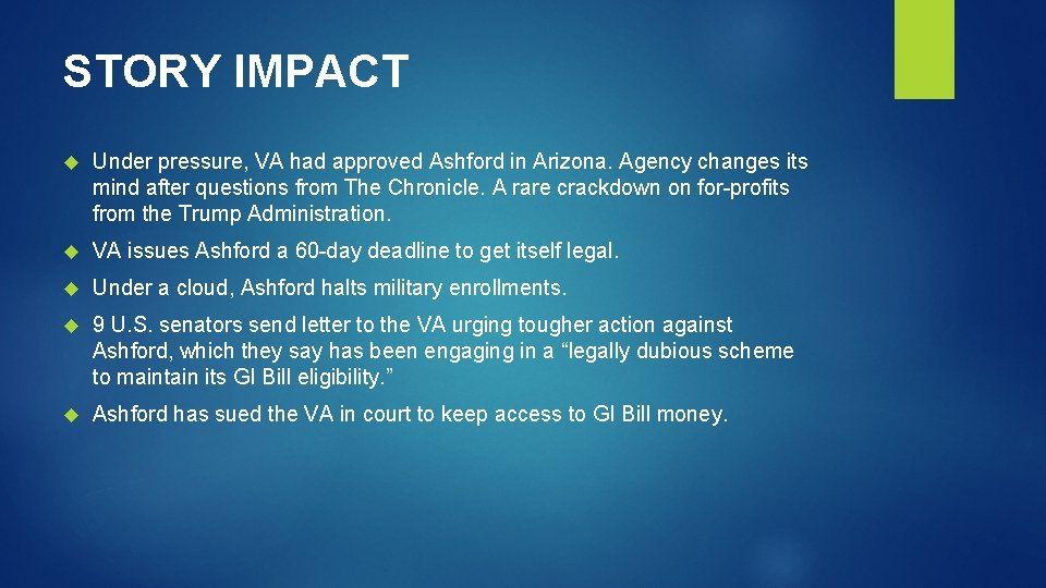 STORY IMPACT Under pressure, VA had approved Ashford in Arizona. Agency changes its mind