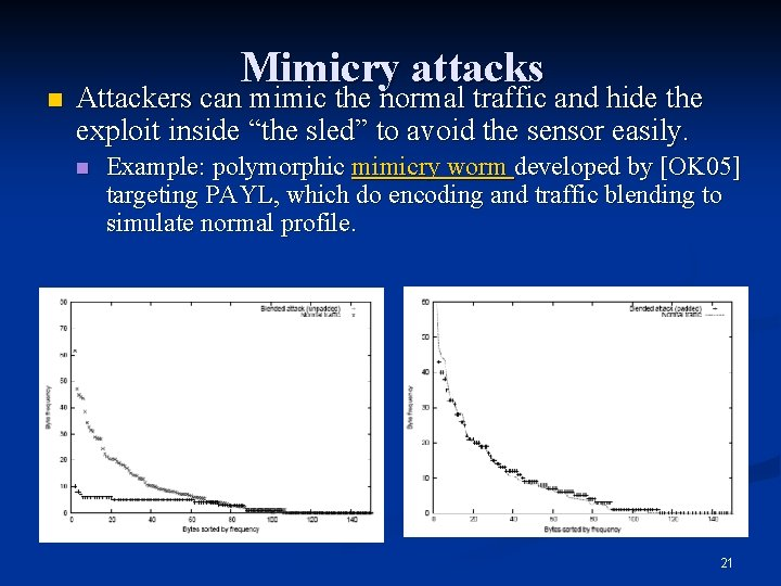 n Mimicry attacks Attackers can mimic the normal traffic and hide the exploit inside