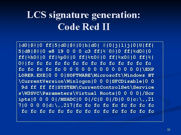 LCS signature generation: Code Red II |d 0|$@|0 ff|5|d 0|$@|0|h|d 0| @|0|j|1|j|0|U|ff| 5|d 8|$@|0