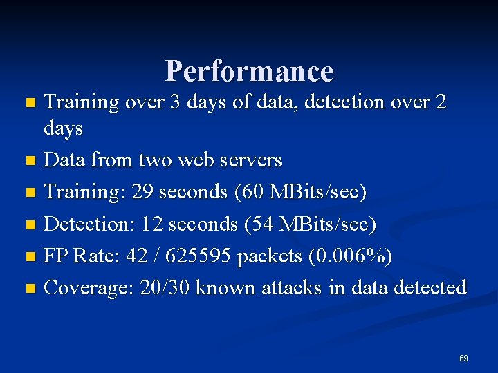 Performance Training over 3 days of data, detection over 2 days n Data from