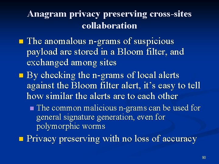 Anagram privacy preserving cross-sites collaboration The anomalous n-grams of suspicious payload are stored in