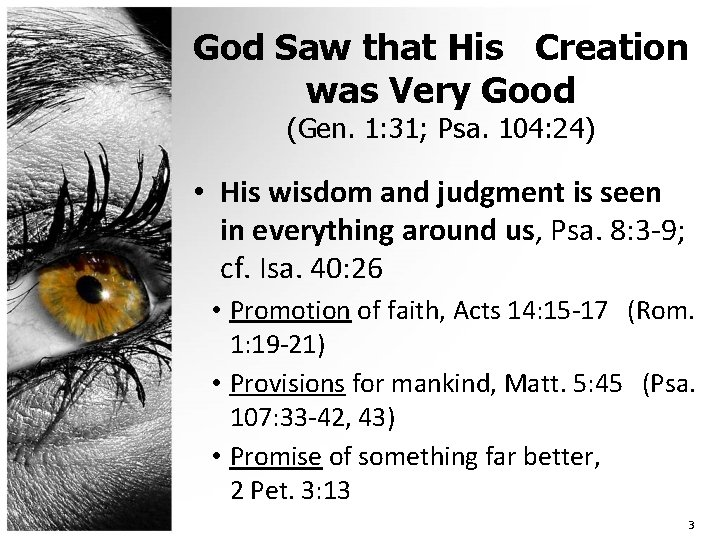 God Saw that His Creation was Very Good (Gen. 1: 31; Psa. 104: 24)