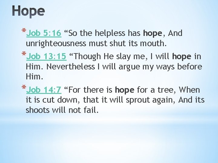 """*Job 5: 16 """"So the helpless has hope, And unrighteousness must shut its mouth."""