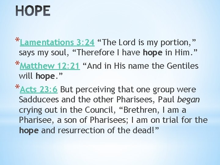 """*Lamentations 3: 24 """"The Lord is my portion, """" says my soul, """"Therefore I"""