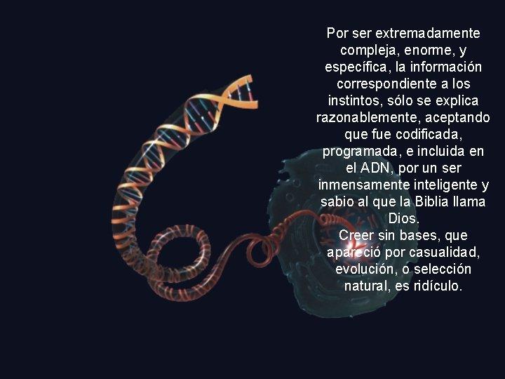 Por ser extremadamente compleja, enorme, y específica, la información correspondiente a los instintos, sólo